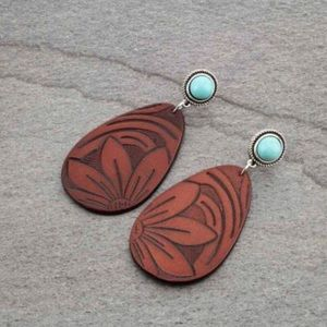 Genuine Tooled Leather Earrings With Natural Stone